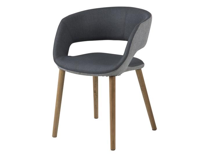 SELSEY Krzesło tapicerowane Hannah szaro-grafitowe na okrągłych nóżkach Tkanina Styl Nowoczesny Drewno Z podłokietnikiem Kolor Szary