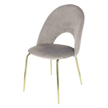 SELSEY Krzesło tapicerowane Tlodio szaro - złote