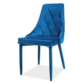 SELSEY Krzesło tapicerowane Cornido granatowy welur