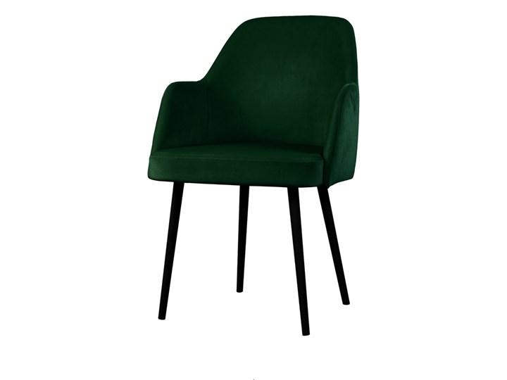 SELSEY Krzesło tapicerowane Kebbi butelkowa zieleń Wysokość 84 cm Z podłokietnikiem Tkanina Drewno Kategoria Krzesła kuchenne