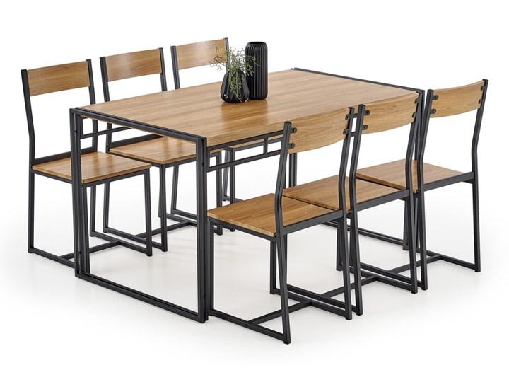 SELSEY Stół z krzesłami Shazam dąb złoty - czarny Pomieszczenie Salon