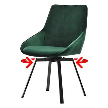 SELSEY Krzesło tapicerowane Yanii z podłokietnikami zielone na czarnej podstawie