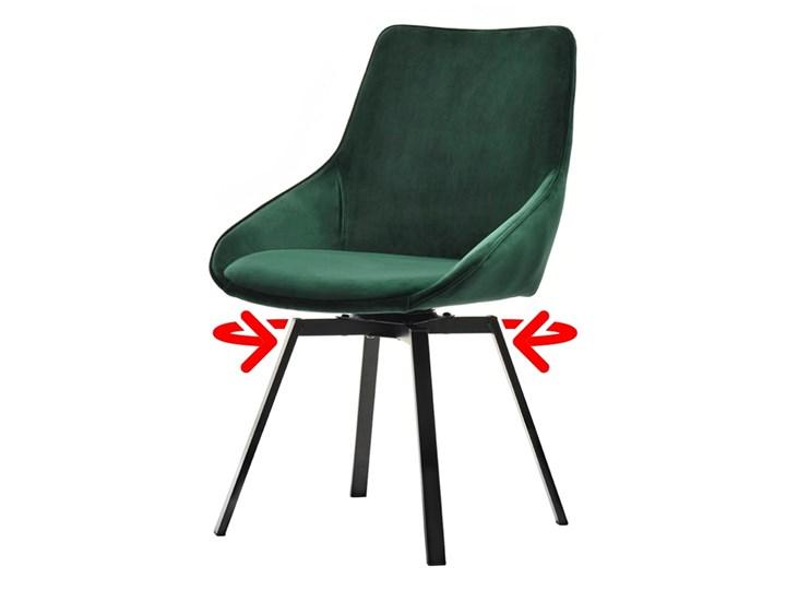 SELSEY Krzesło tapicerowane Yanii z podłokietnikami zielone na czarnej podstawie Krzesło inspirowane Tkanina Pomieszczenie Biuro i pracownia Metal Z podłokietnikiem Kolor Zielony