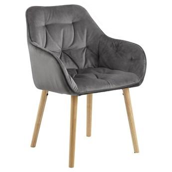SELSEY Zestaw dwóch krzeseł tapicerowanych z podłokietnikami Agamos ciemnoszary welur na drewnianych nóżkach