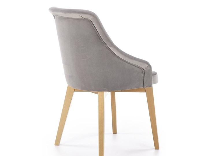 SELSEY Krzesło tapicerowane Berlas szary velvet - dąb miodowy Tkanina Drewno Kategoria Krzesła kuchenne