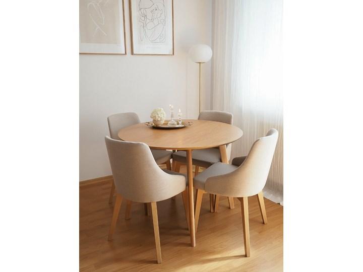 SELSEY Krzesło tapicerowane Berlas kremowe - dąb miodowy Drewno Tkanina Kategoria Krzesła kuchenne Kolor Beżowy