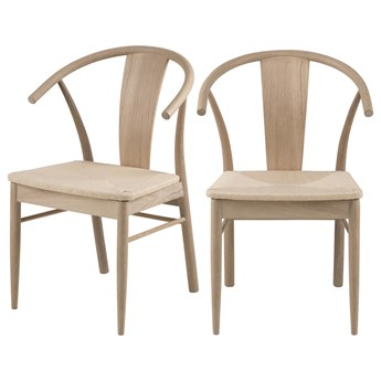 SELSEY Zestaw dwóch krzeseł drewnianych Absolutno dąb olejowany