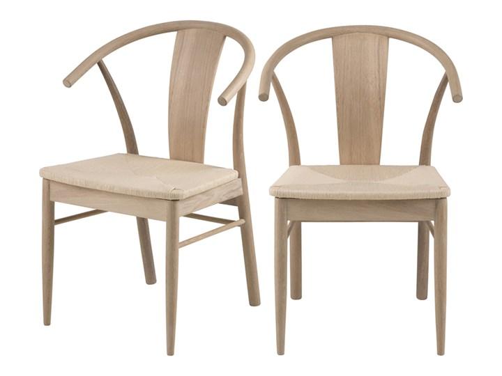 SELSEY Zestaw dwóch krzeseł drewnianych Absolutno dąb olejowany Kategoria Krzesła kuchenne Drewno Tradycyjne Styl Skandynawski