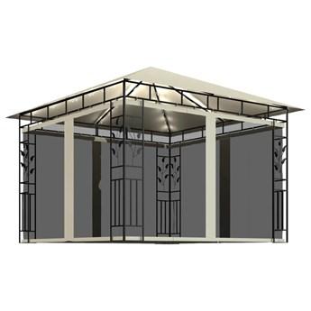 vidaXL Altana z moskitierą i sznurem lampek, 3x3x2,73 cm, kremowa