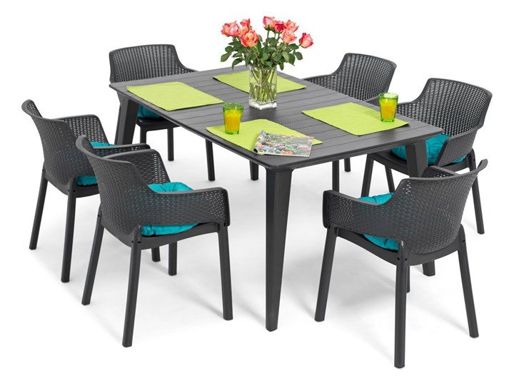 Meble ogrodowe 6-osobowe EVA+LIMA - grafitowe Kolor Szary Stoły z krzesłami Zawartość zestawu Krzesła