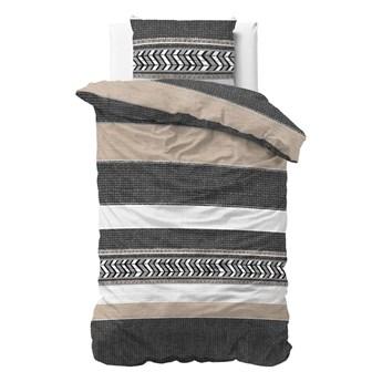 Szara bawełniana pościel jednoosobowa Pure Cotton Northern Stripe, 140x200/220 cm