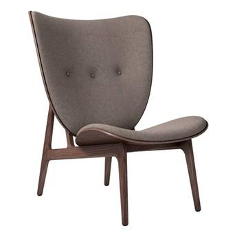 Fotel tapicerowany ELEPHANT LOUNGE drewno dębowe Dark Smoked wełna Canvas Fame NORR11