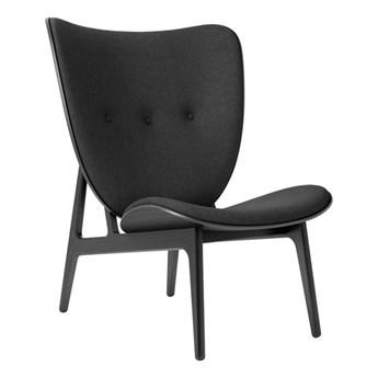 Fotel tapicerowany ELEPHANT LOUNGE drewno dębowe czarny wełna Canvas Fame NORR11