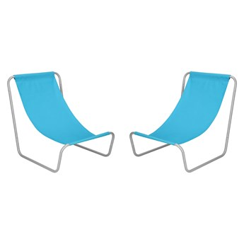 Leżak plażowy 2 szt. leżanka składana metalowa niebieska
