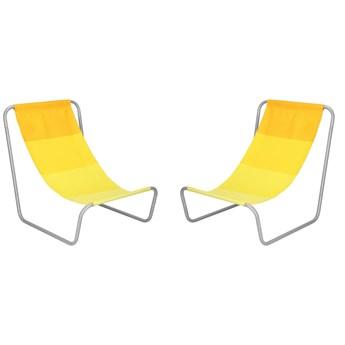 Leżak plażowy 2 szt. leżanka składana metalowa żółta