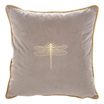 Poszewka na poduszkę beżowa zdobiona złotym nadrukiem w rozmiarze 45x45 z miękkiej tkaniny velvet ważka