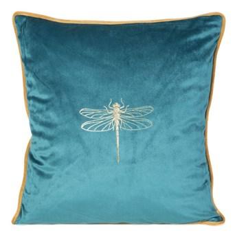 Poszewka na poduszkę turkusowa zdobiona złotym nadrukiem w rozmiarze 45x45 z miękkiej tkaniny velvet ważka
