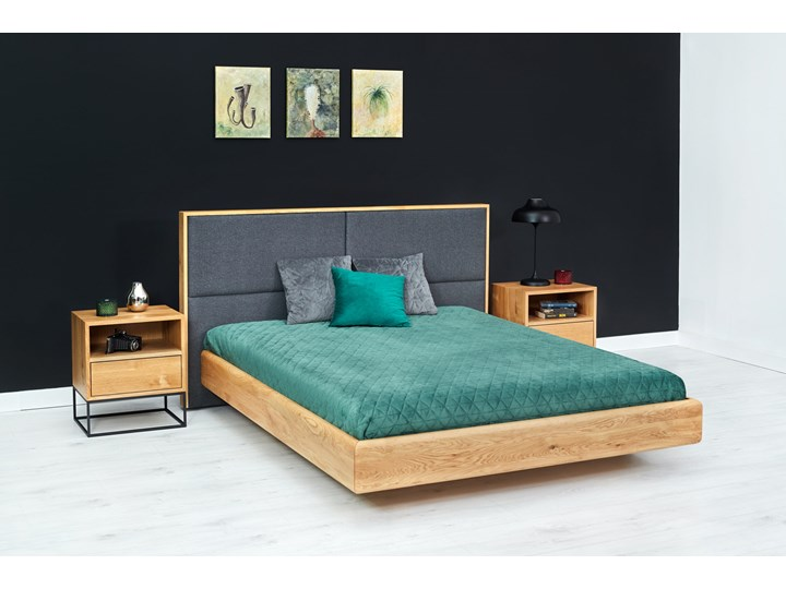 Łóżko lewitujące Dome Dąb 120x200 cm Kolor Szary Łóżko tapicerowane Drewno Kategoria Łóżka do sypialni