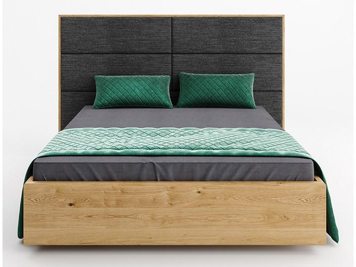 Łóżko drewniane Dome z pojemnikiem Dąb 140x200 cm Drewno Styl Klasyczny Kolor Szary