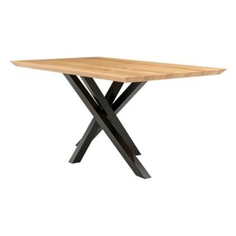 Stół rozkładany Slant z litego drewna Dąb 140x90 cm Dwie dostawki 45 cm Lakier matowy