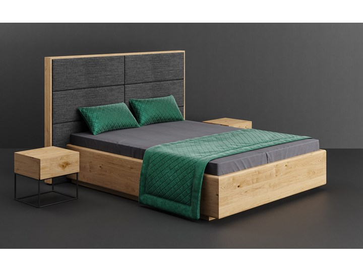 Łóżko Dome z pojemnikiem Dąb 160x200 cm Lakier matowy INARI 94 Drewno Łóżko drewniane Kolor Beżowy Styl Klasyczny