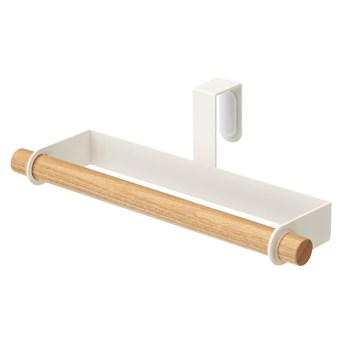 Biały uchwyt na ścierki kuchenne na drzwiczki z detalem z bukowego drewna YAMAZAKI Tosca
