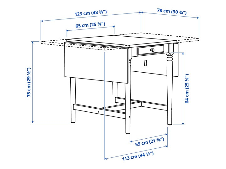 IKEA INGATORP / INGOLF Stół i 2 krzesła, biały/biały, Długość: 123 cm Kategoria Stoły z krzesłami Pomieszczenie Jadalnia