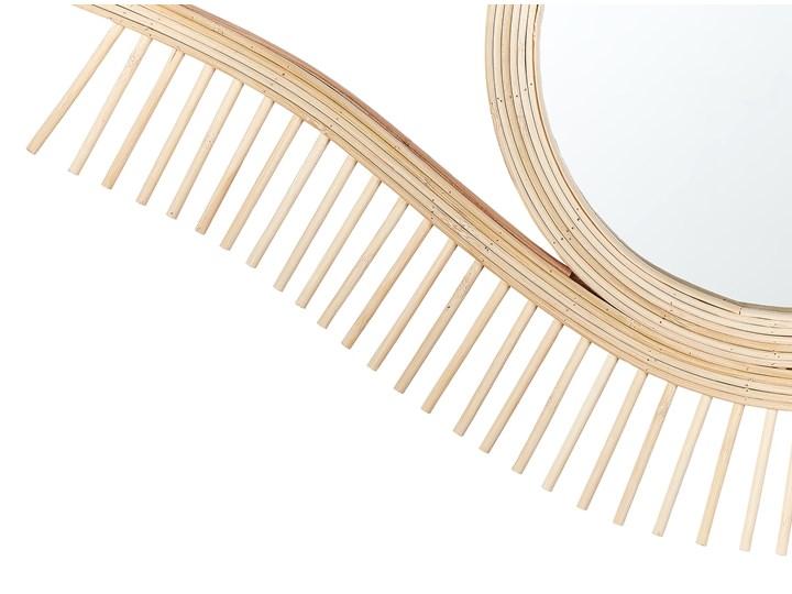 Lustro ścienne jasne drewno 48 x 79 cm kształt oka ręcznie wykonane bambus boho rustykalne Nieregularne Styl Rustykalny