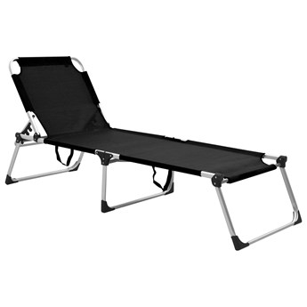 Wysoki leżak dla seniora, składany, czarny, aluminiowy