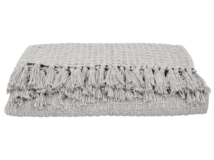 VAFFEL Pled bawełniany jasnoszary 130x170 cm Bawełna Koc Pomieszczenie Salon Kategoria Koce i pledy