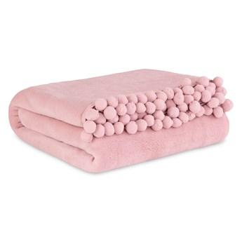 HJO Koc z pomponami różowy 150x200 cm
