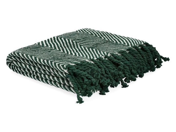 SPARRE Pled zygzak zielony 130x170 cm Pomieszczenie Salon Bawełna Pomieszczenie Sypialnia