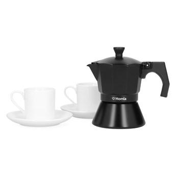 MIA MOKKA Zestaw kawiarka czarna z 2 filiżankami 3 cup