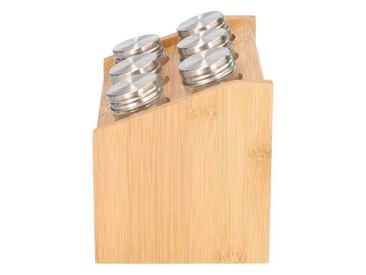 BAMBOU Stojak z przyprawnikami - 6 słoiczków 21x14x15 cm Zestaw do przypraw Kategoria Przyprawniki