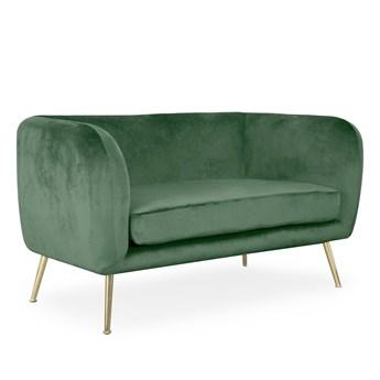 BARI Sofa welurowa zielona 69x127x75 cm