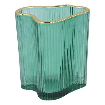 AREUS Lampion szklany zielony 9x7x10 cm