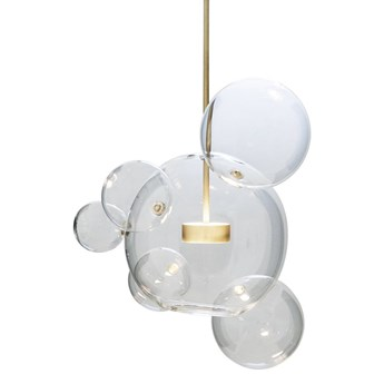 Bubble 6 - duża nowoczesna lampa wisząca - pączkujące szklane kule