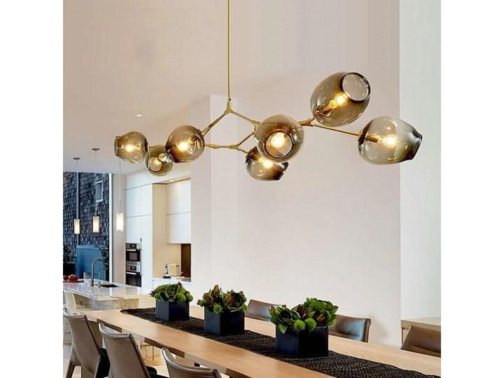 Chemistry gold - 6-punktowa nowoczesna lampa wisząca - różne klosze Szkło Metal Lampa z kloszem Kolor Złoty Lampa inspirowana Styl Nowoczesny