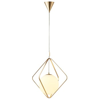 Entrapped - mleczna kula w klatce - nowoczesna lampa wisząca