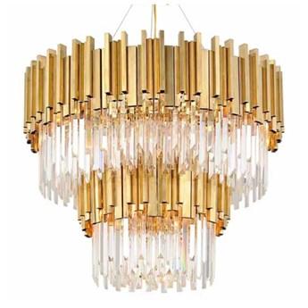 Pipe Organ Crystal Chandelier BRASS - żyrandol kryształowy 2-rzędowy 80cm