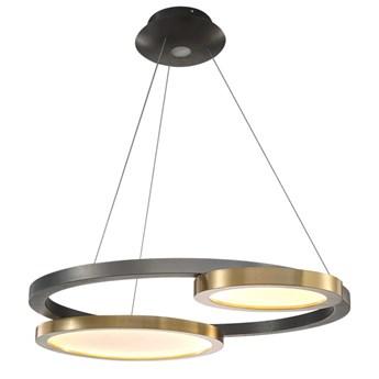 LED Circles 2 - żyrandol LED 73cm mosiądz i perłowa czerń