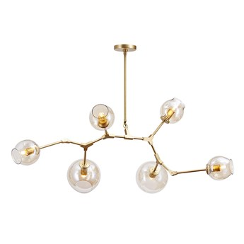 Chemistry gold - 6-punktowa nowoczesna lampa wisząca - różne klosze