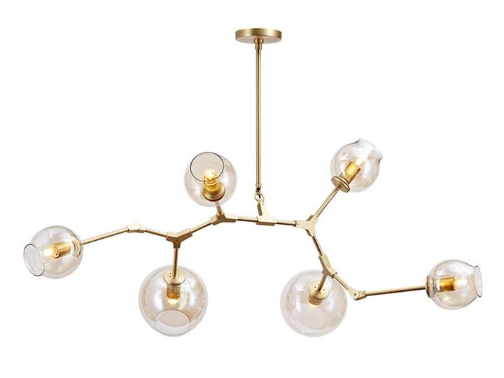 Chemistry gold - 6-punktowa nowoczesna lampa wisząca - różne klosze Lampa inspirowana Lampa z kloszem Metal Szkło Kolor Złoty
