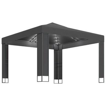 vidaXL Altana z podwójnym dachem i sznurem lampek, 3x3 m, antracytowa