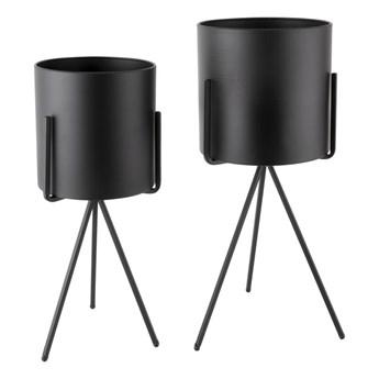 Zestaw 2 czarnych żelaznych doniczek na stojakach PT LIVING
