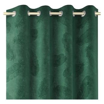 Zielona zasłona z aksamitną powierzchnią AmeliaHome Peacock, 140x250 cm