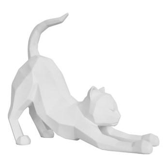 Matowa biała figurka PT LIVING Origami Stretching Cat, wys. 30,5 cm