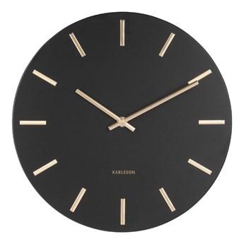Czarny zegar ścienny ze wskazówkami w kolorze złota Karlsson Charm, ø 30 cm