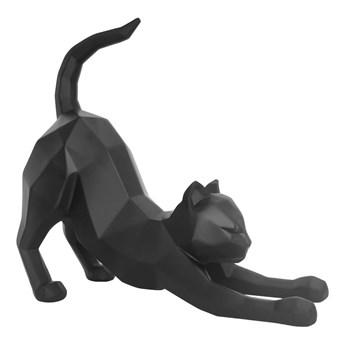 Matowa czarna figurka PT LIVING Origami Stretching Cat, wys. 30,5 cm