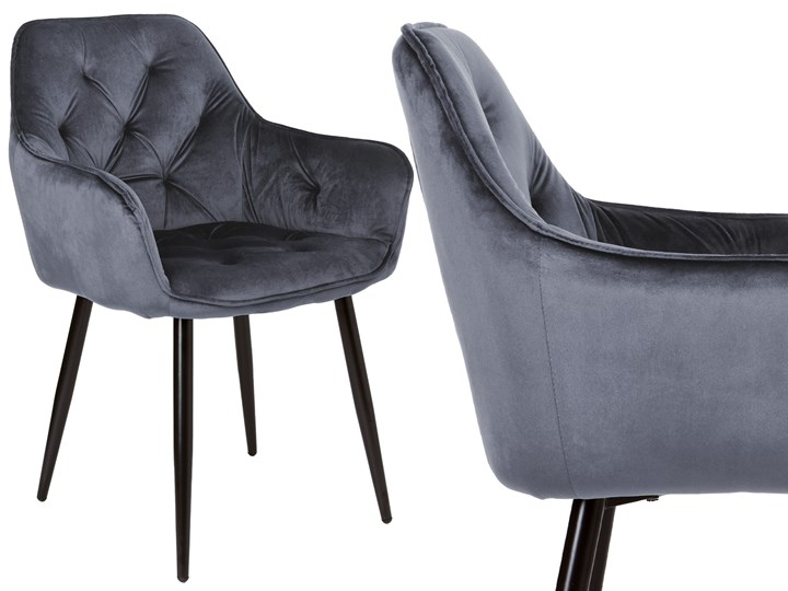 Krzesło welurowe Nevada VELVET Grafitowe Szerokość 59 cm Metal Tkanina Tworzywo sztuczne Krzesło inspirowane Tapicerowane Wysokość 85 cm Skóra Głębokość 61 cm Styl Nowoczesny